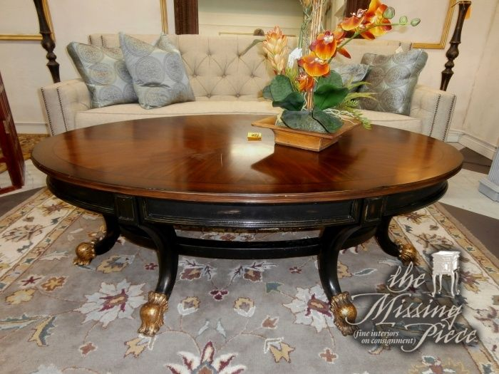 Elegant Oval Top Coffee Table In Burled Mahogany With Rubbed Black Base And Gold  Claw Feet. Looks Like A Million Bucks. But Itu0027s Not At The Missing Piece. Great Pictures
