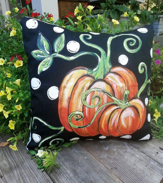 New! Pumpkin and Vines, Black/White Polka-dot Fall, Halloween, Thanksgiving, Autumn, Accent Pillows, Hand-painted, Pillow Cover, No. 114