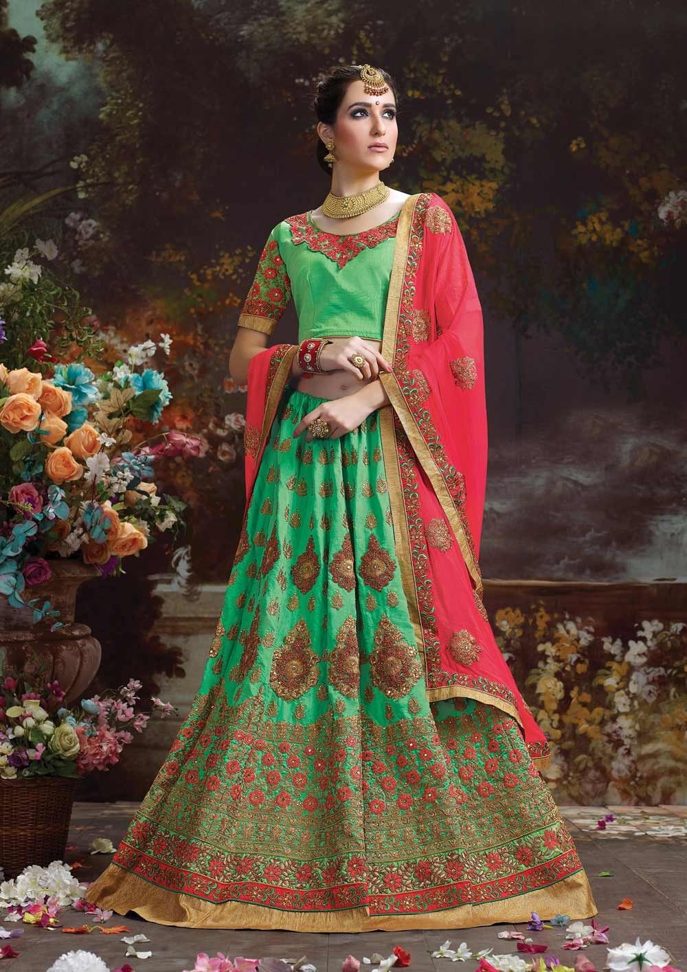 d4f5cdf72365b0 Green indian wear silk lehgna choli with red contrast dupatta Green Lehenga,  Indian Lehenga,