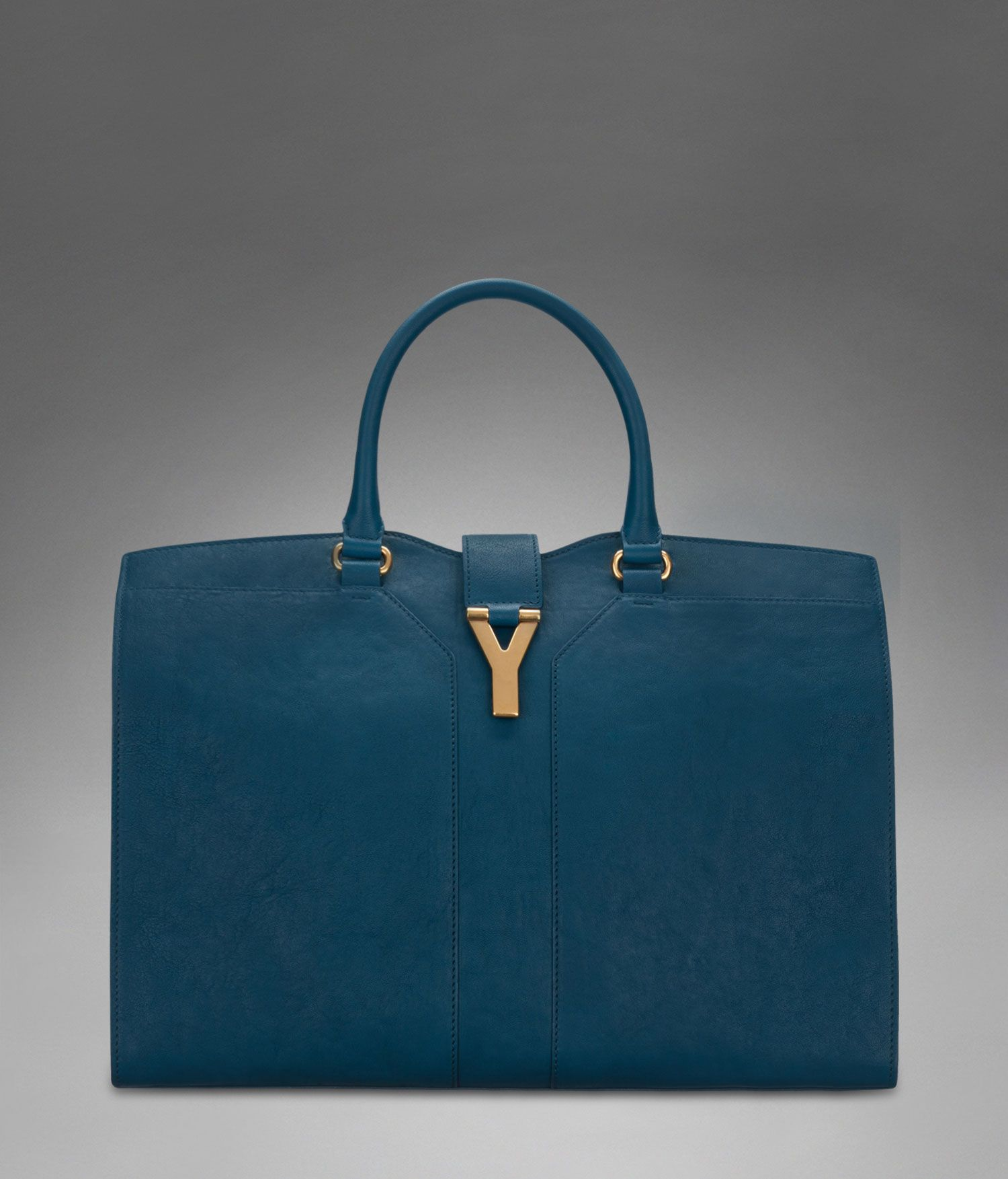 f2569e02 Large YSL Cabas Chyc in Peacock Blue Leather - Chyc – Handbags ...