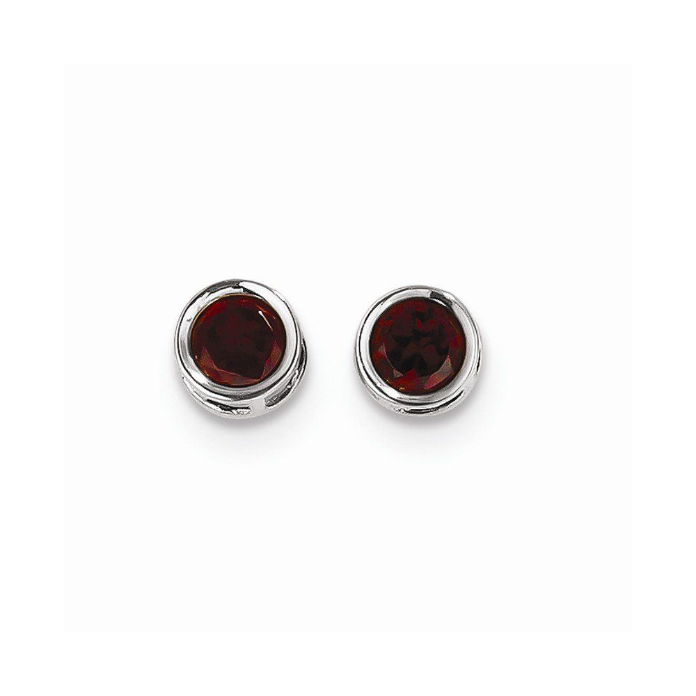 14k White Gold 5mm Bezel Simulated Garnet Stud Earrings 14k White Gold  Earrings Post