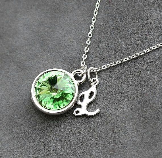 Initial birthstone necklace august birthstone jewelry peridot initial birthstone necklace august birthstone jewelry peridot custom letter jewelry push present personalized new mom necklace aloadofball