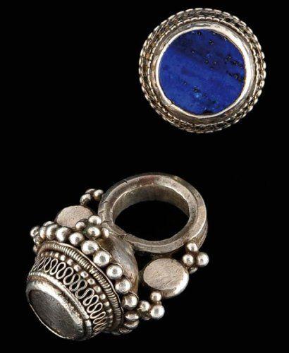 Lot de 2 bagues Argent et lapis lazuli Inde et Moyen Orient PT 85 gr ,  Société de ventes aux enchères Paris Drouot , Auction House for fine art  and