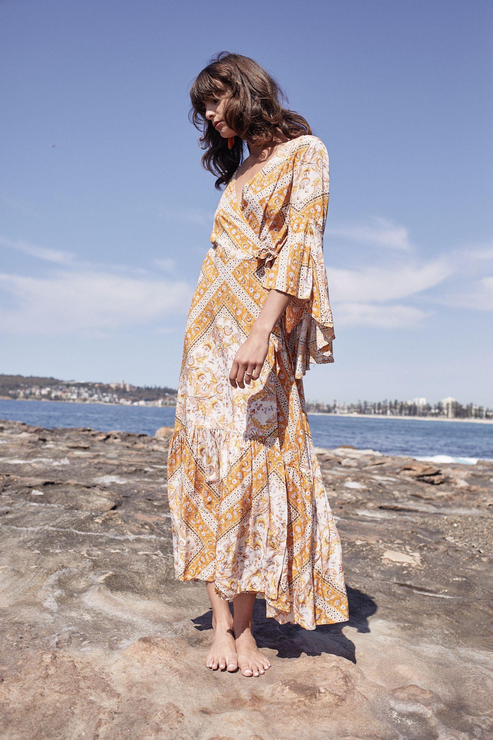 Marigold wrap maxi bohemian maxi dress perfect for your special