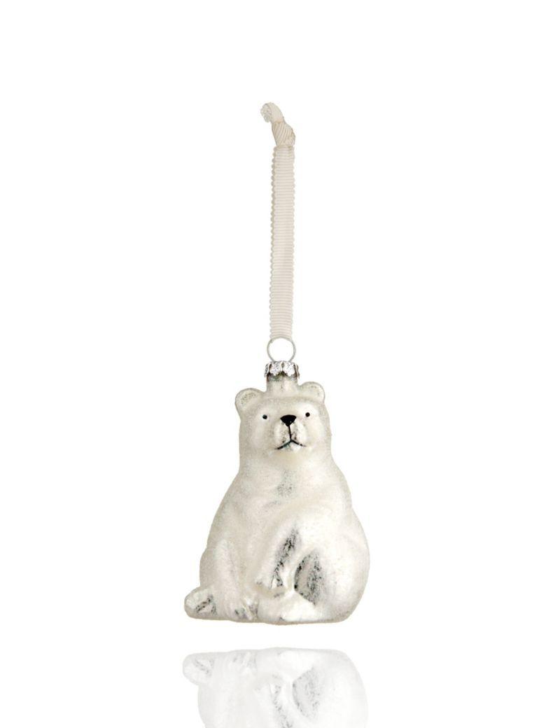 Glass Polar Bear Christmas Decoration M S Christmas Polar Bear
