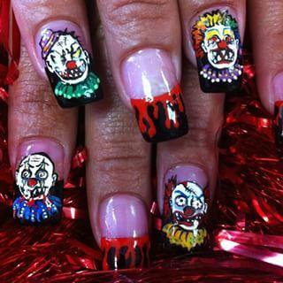 Clowns!!!! in 2020 | Halloween nail art, Halloween nails ...