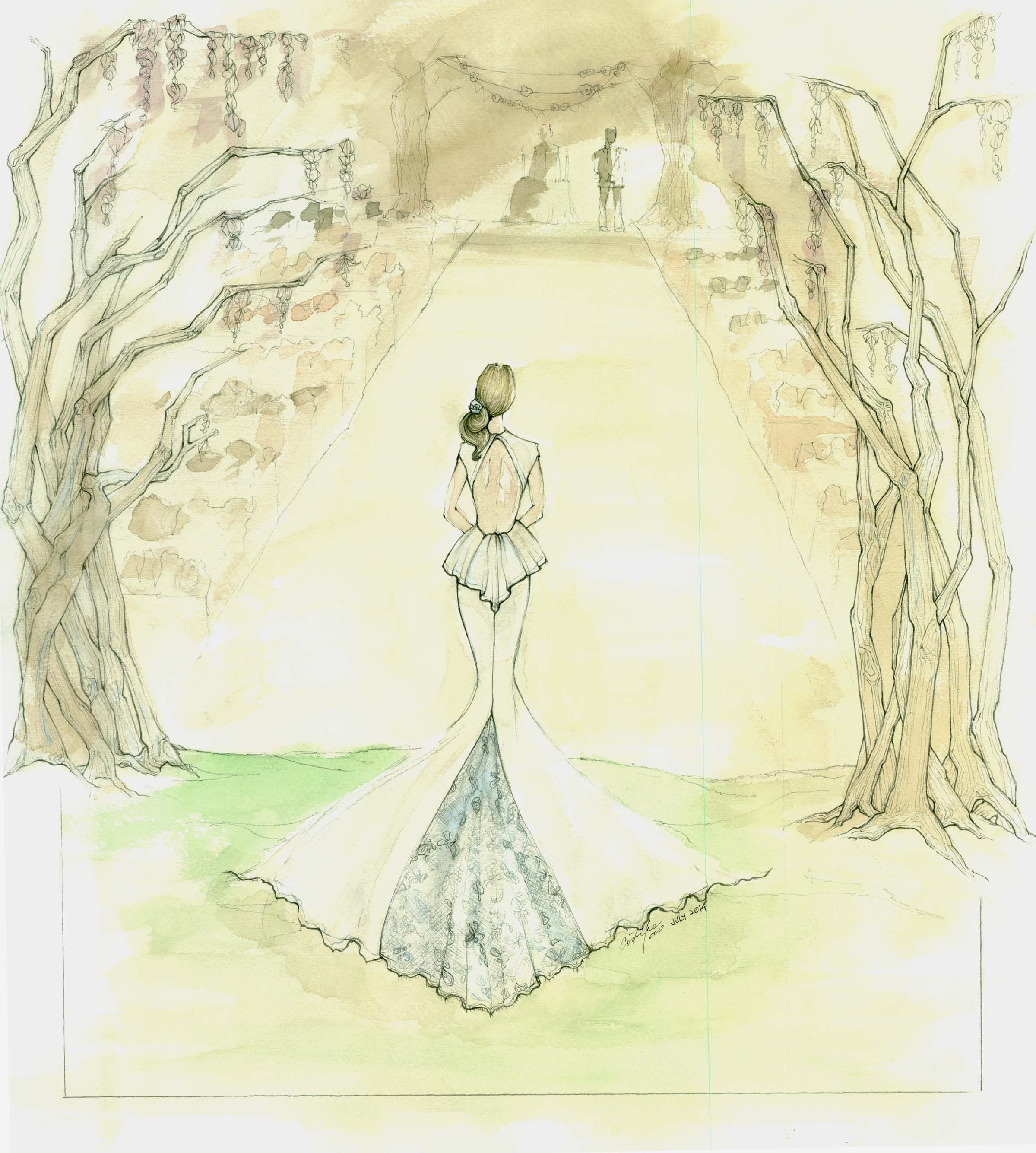 Songs To Walk Down The Isle To: Illustration Of Bride In Custom Designed Wedding Gown
