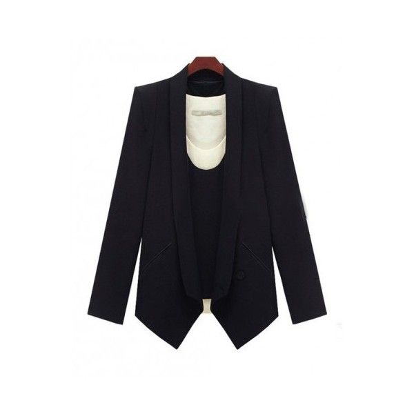 Black Long Sleeve No Collar One Button Design Slim Fit Blazer ($62) ❤ liked on Polyvore