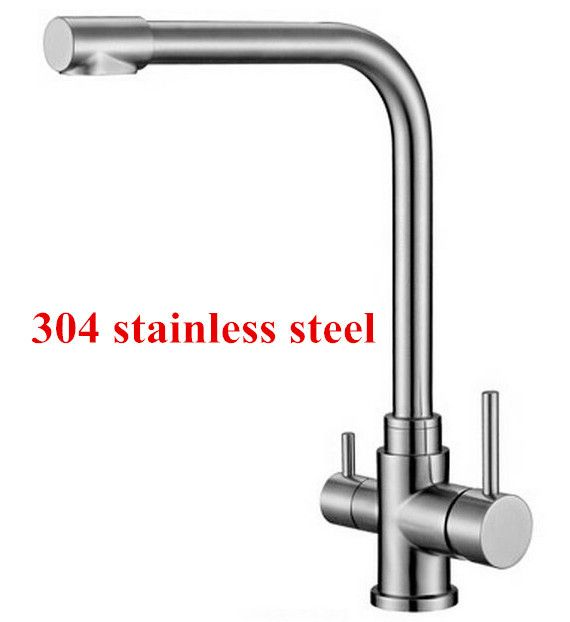 water filter faucet stainless steel. Free shipping 304 Stainless Steel Lead free double handles Kitchen Faucet  Mixer Drinking Water Filter
