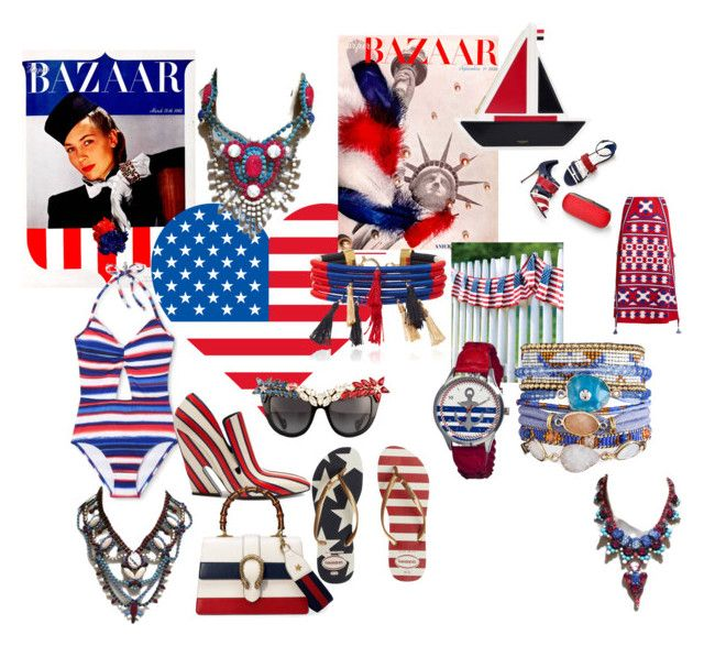 """""""4th july"""" by mimmiandkinkistatementjewelry ❤ liked on Polyvore featuring Mulberry, Anna-Karin Karlsson, Isabel Marant, Havaianas, Gucci, Boum, Sergio Rossi, Thom Browne and Vita Kin"""