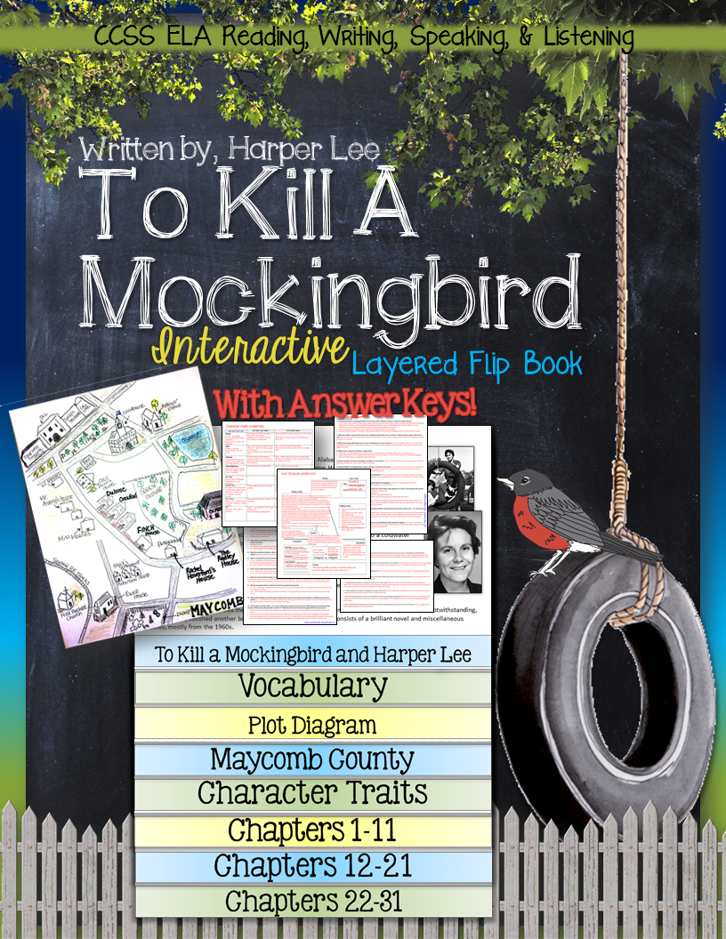 Kill mockingbird scrapbook ideas - To Kill A Mockingbird Novel Study Literature Guide Flip Book