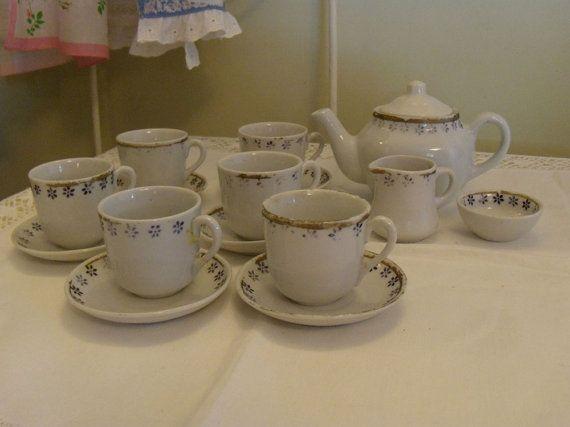 Children Antique 16-Piece Tea Set, Handpainted, by SmallbonesStudio, $47.00