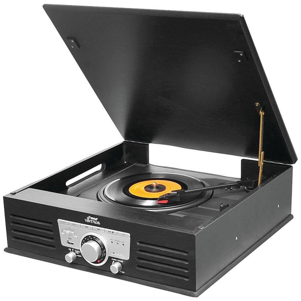 Pyle Retro-style Bluetooth Turntable Vinyl Record Player