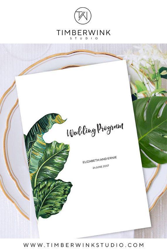 Tropical Wedding Program, Order of Service, Printable Wedding - order sheet template