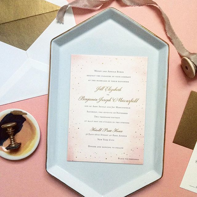 Love this new one from our collection - soft blush background with flecks of gold - it just glows in the most lovely way! #fourteenforty #custom #gold #blush #romantic #stationery #invitations