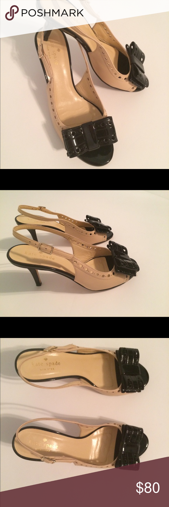 Kate Spade Bow Front Peep Toe Black Tan Heel This listing is for a pair of mint condition (worn twice-no scuffs) pair of Kate Spade peep toe heels with a approx 2.5 inch heel. Patent leather black trim and heel with beige kid leather upper. No dust bag or box. Contact seller for more questions! :-) not a reposh -original owner. Kate Spade Shoes Heels