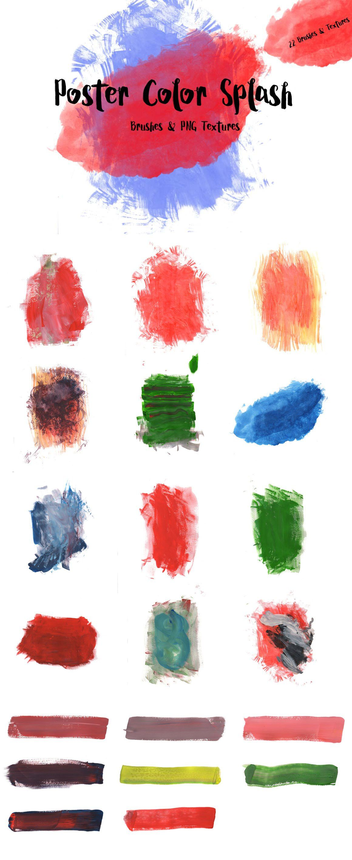 Poster Color Splash Brushes & Textures For $5