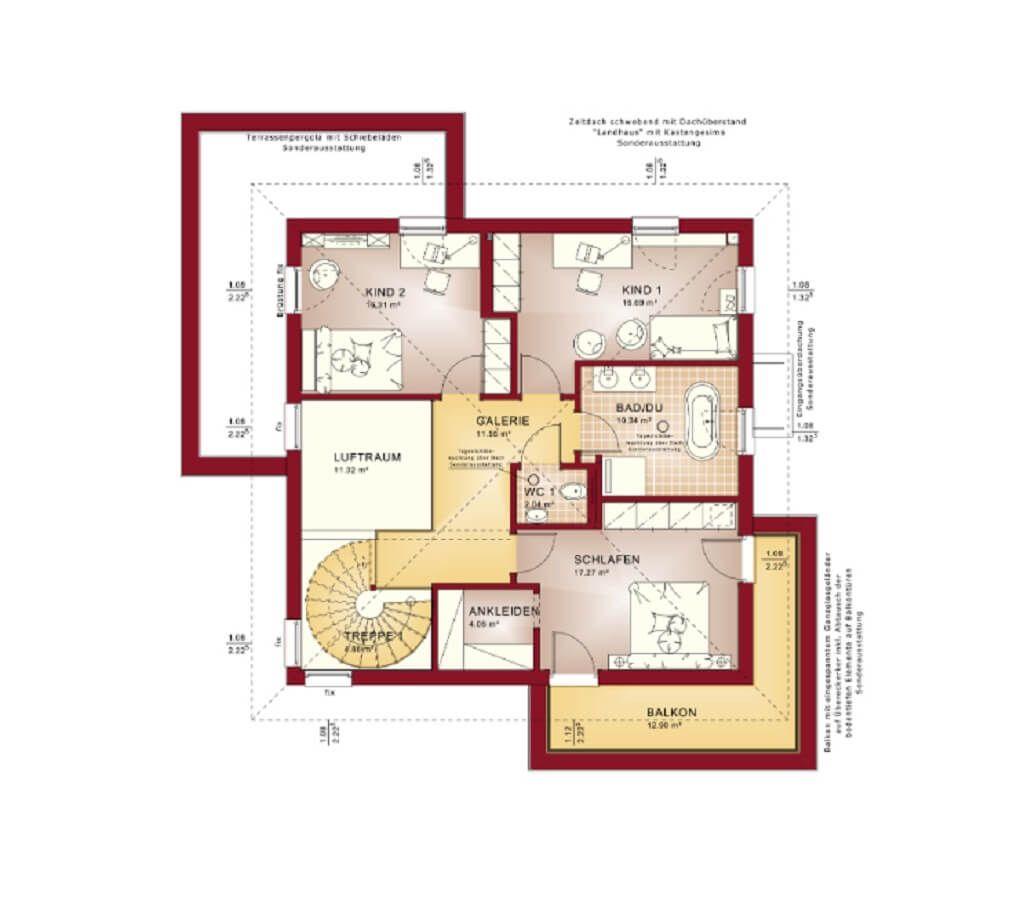 GRUNDRISS STADTVILLA Concept M 193 Bien Zenker * Modernes Einfamilienhaus  Bauen Grundriss OG Walmdach Schlafzimmer