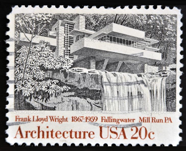 "USA 20 Cent Stamp - Stamp honoring American Architect Frank Lloyd Wright, and one of his iconic creations, ""Fallingwater"""
