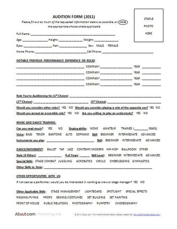 Is There a Comprehensive Form to Use When Holding Auditions? stuff - audition form