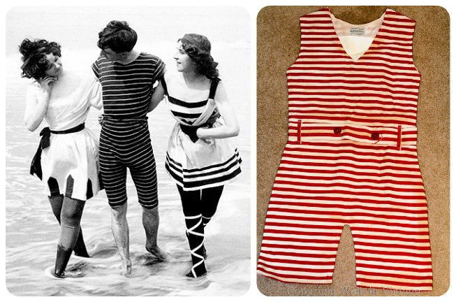 b62be2666a ANTIQUE VINTAGE MEN'S 1900s ERA BATHING SUIT ONE-PIECE RED STRIPED WITH BELT