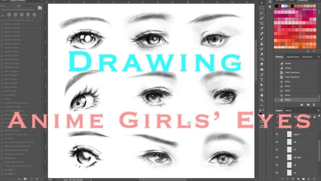 How to Draw Anime Eyes (Semi Realistic Manga Girl Eyes) Digital