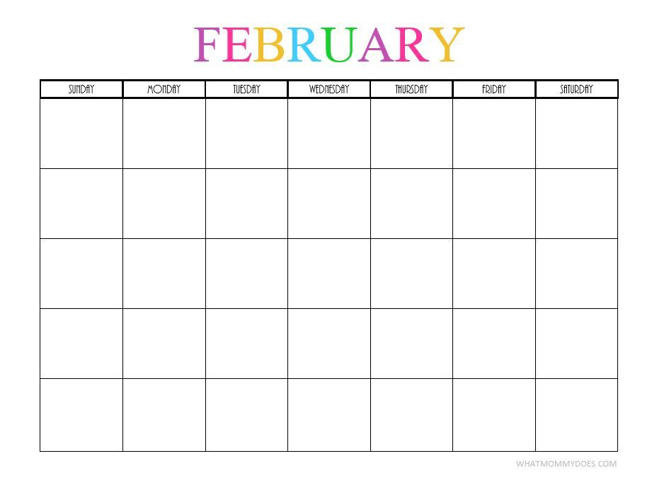 blank monthly calendar template 2018