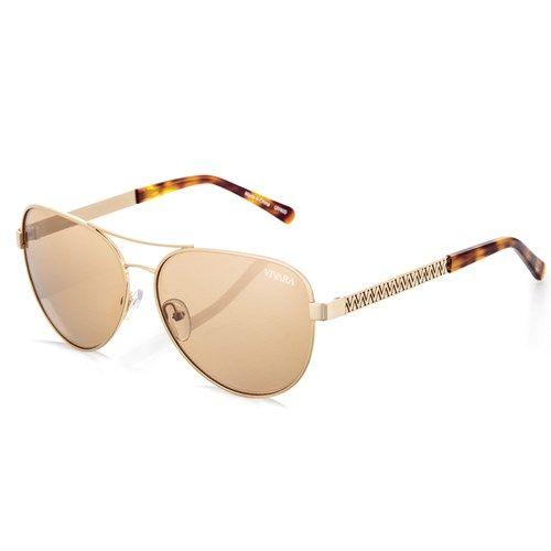 Óculos de sol com lentes douradas espelhadas e armação em aço dourado -  Vivara a9ae09c51f