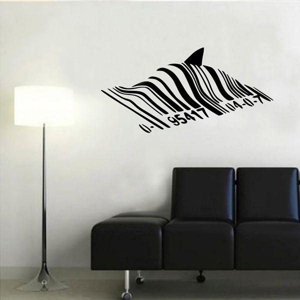 2015 New Banksy Shark Barcode Graffiti Wall Decal Sticker Vinyl Large Size  100x55CM(China (Mainland))