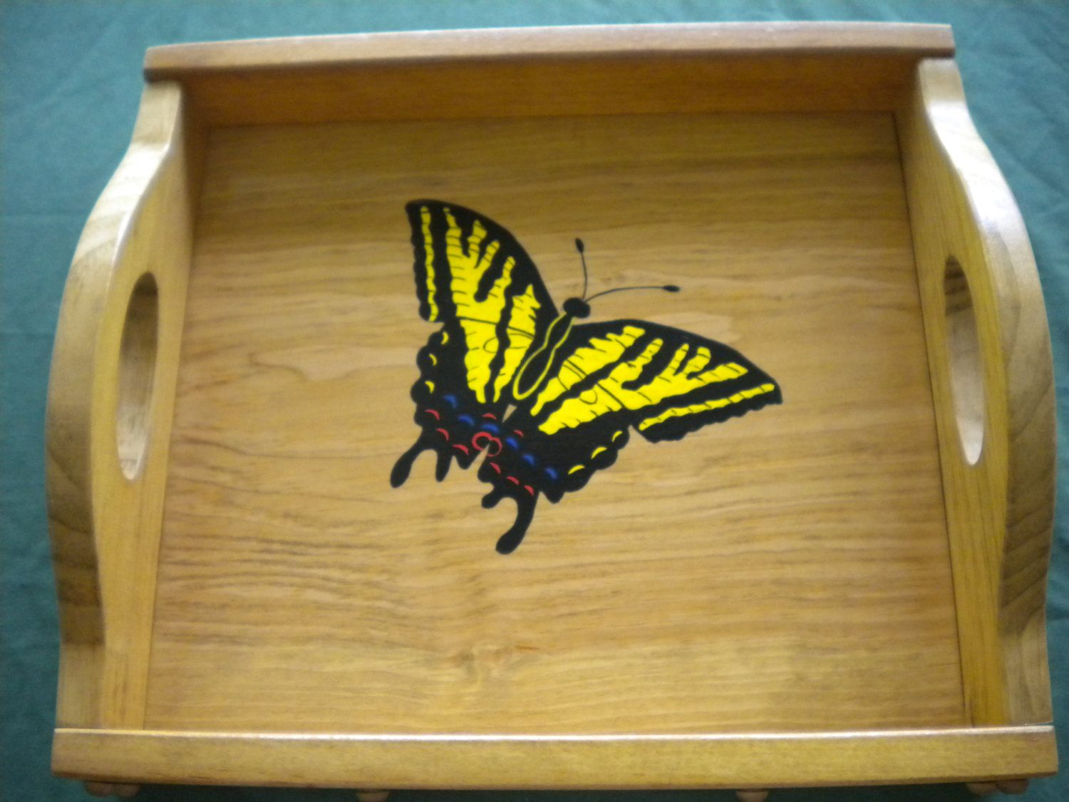 Acrylic Decorative Tray Serving Tray Acrylic Painting Of A Swallow Tail Butterfly Handmade