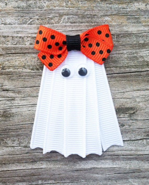 Ghost Hair Clip, Halloween Hair Clip, White Ghost Ribbon Hair Clip, Fall Hair Clip, Girls Hair Bows, White Ghost with Orange Bow Hair Clip #hairclips
