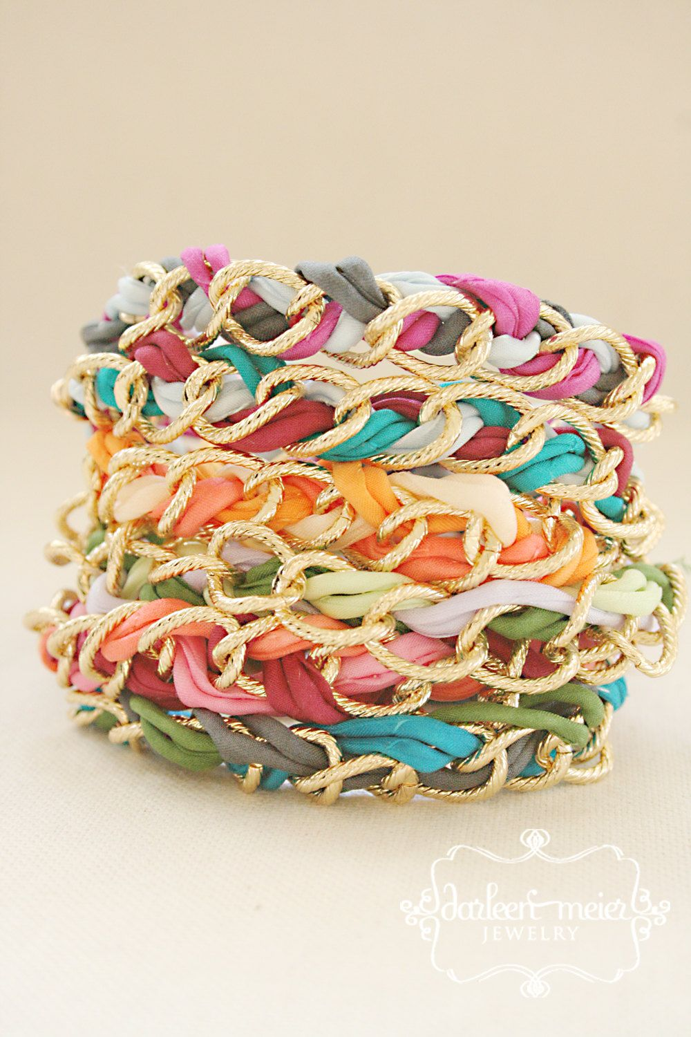 291c593d7b31a FRIENDSHIP bracelet with chunky gold curb chain by darleenmeier ...