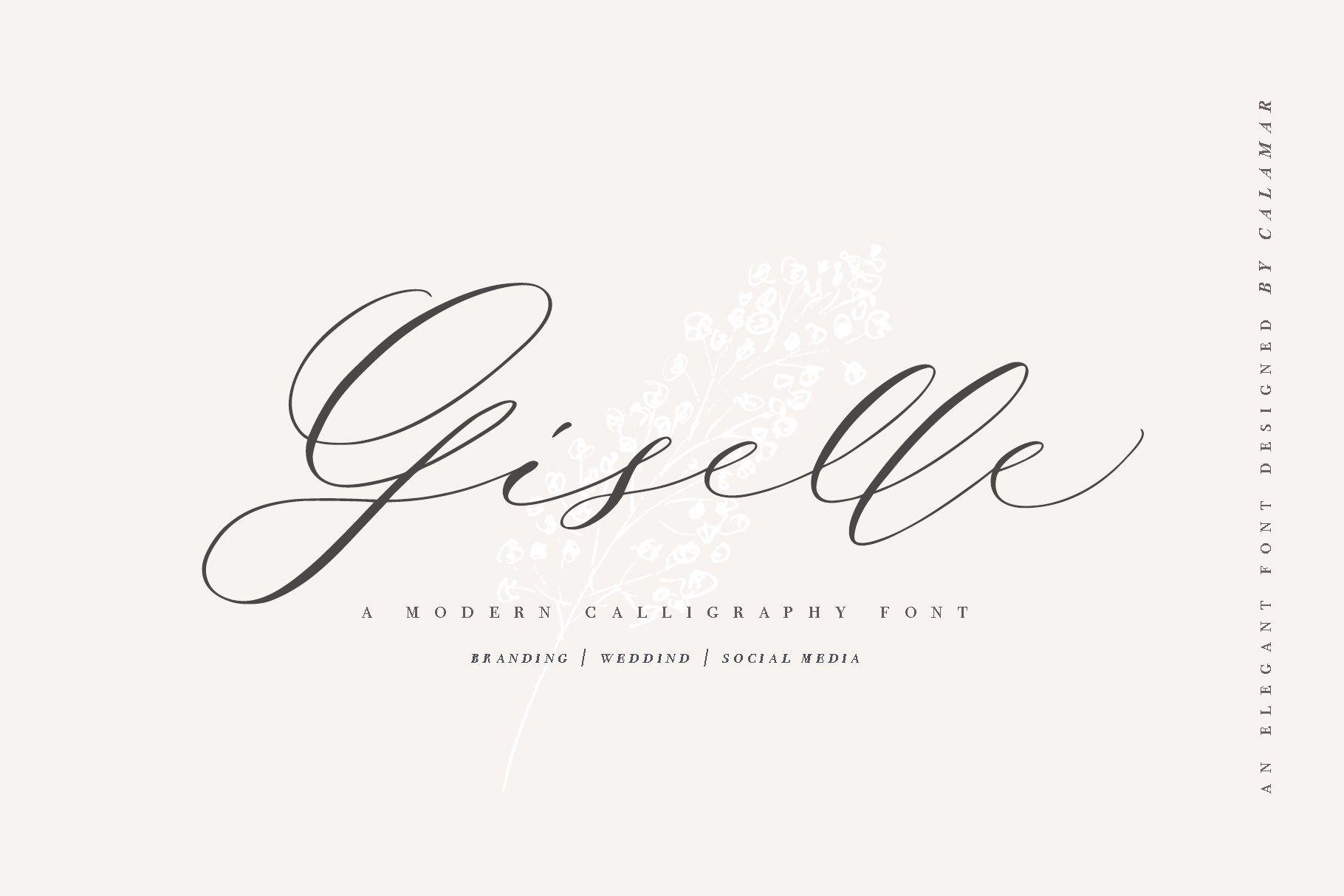 Giselle Script Modern Calligraphy Fonts Wedding Fonts Script
