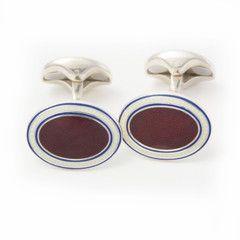 Edward sexton burgundy starburst enamel cufflinks hand made in England.