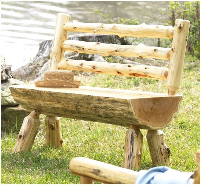 build a rustic log bench garden and outdoor. Black Bedroom Furniture Sets. Home Design Ideas