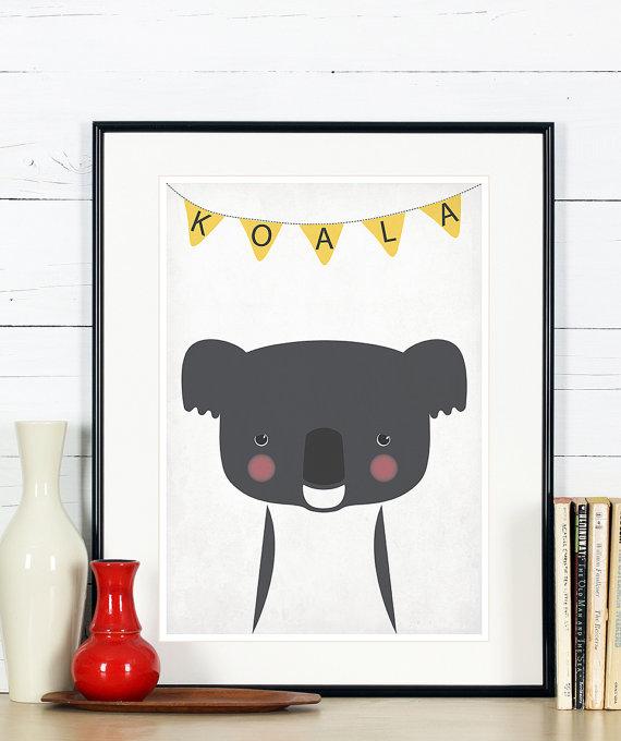 Affiche rétro - vintage koala - animal australien - imprimer, A4 8 x 10, pépinière mur décoration, Australie, Outback décor mural rétro, bébé animal