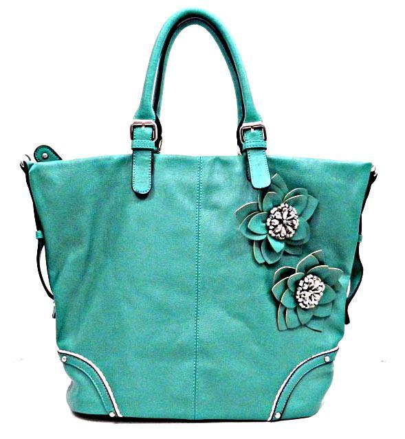 Fashion Designer Inspired Beaded Flower   Rhinestone Tote Handbag - Mint  Green  59.99 www.wantedwardrobe.net  handbags  fashion 7672be8186214