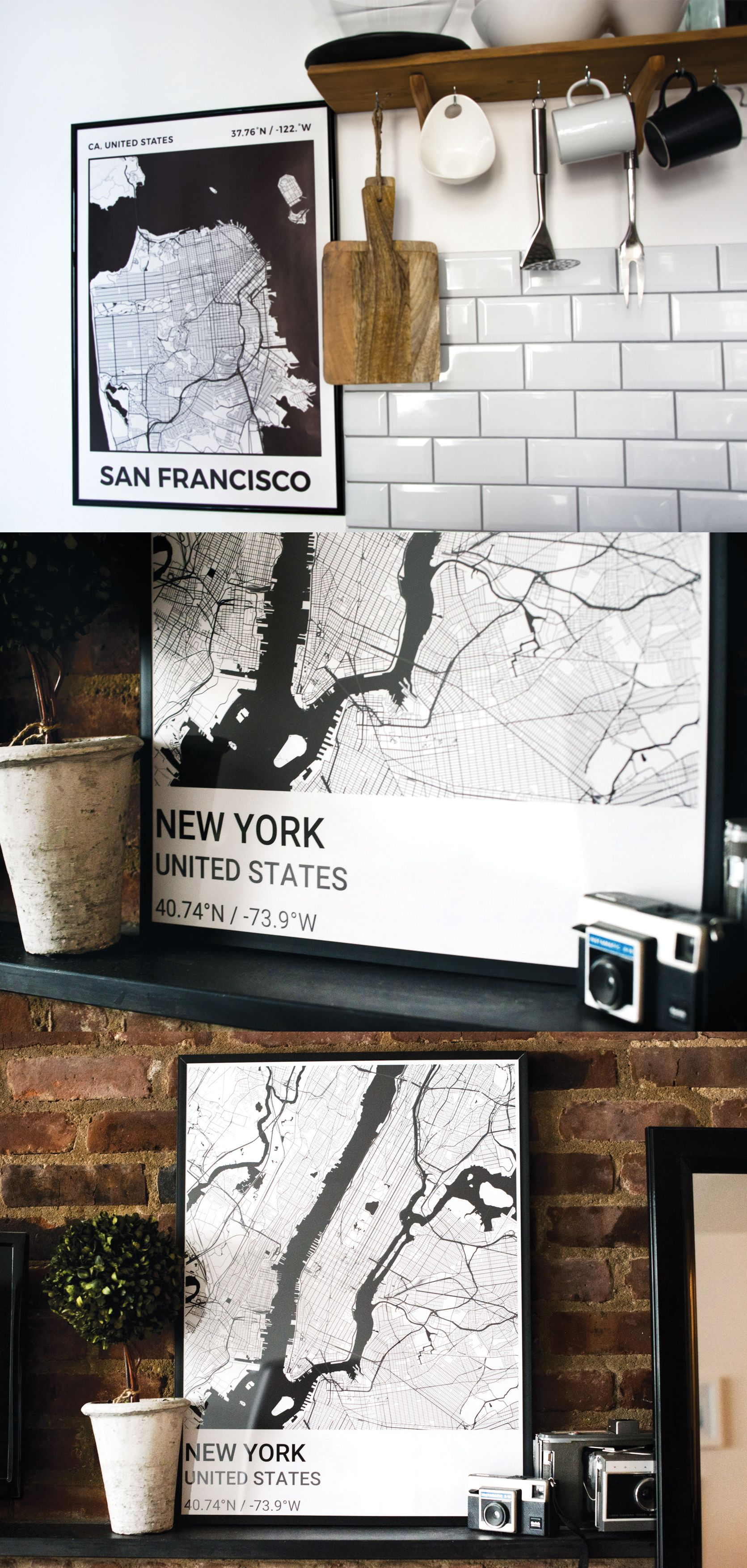 Turn a map of your hometown into a sleek wall art ideas