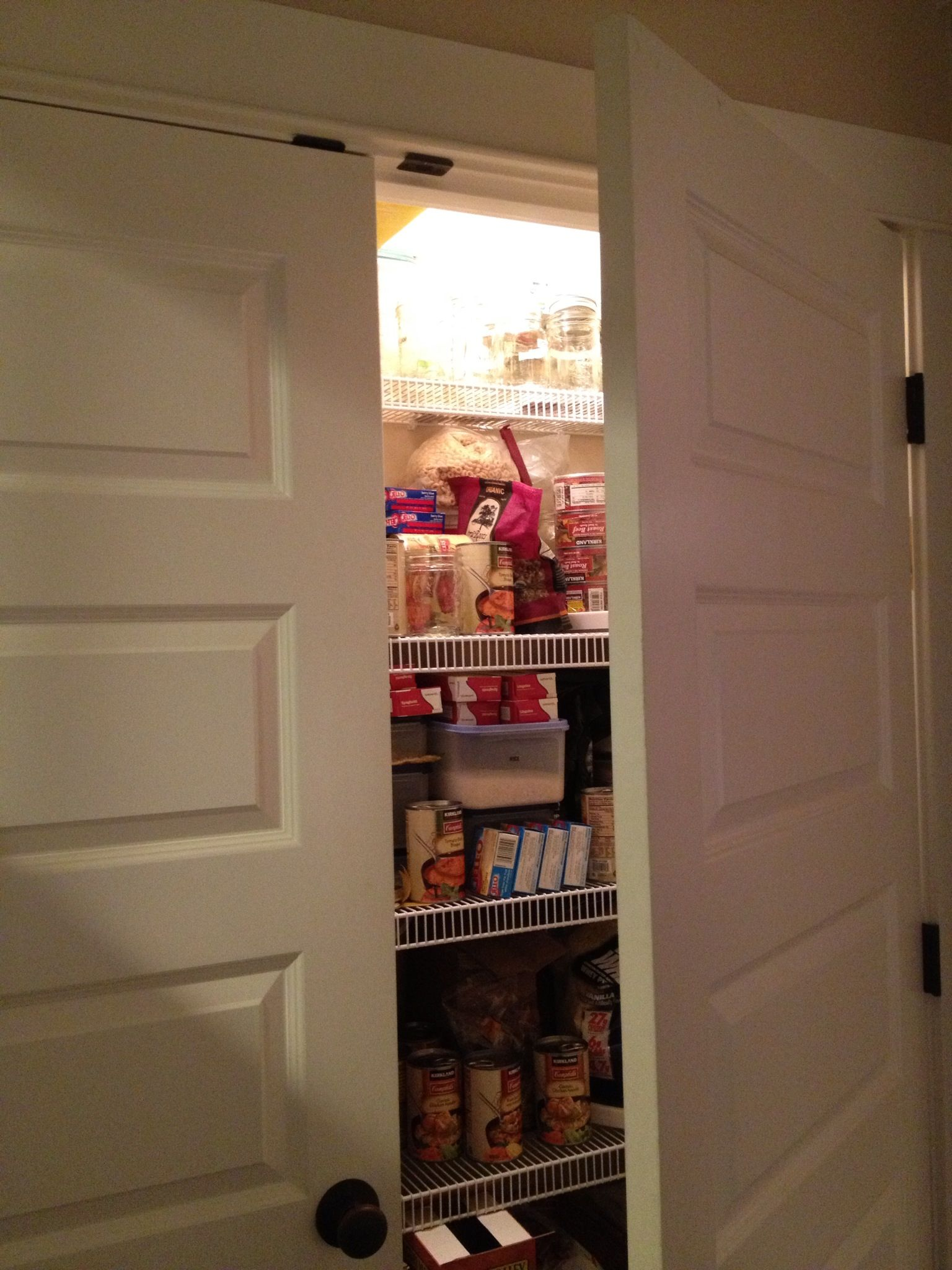 Pantry Light Comes On When You Open The Door Don T Look At The Mess Closet Lighting Pantry Lighting Home