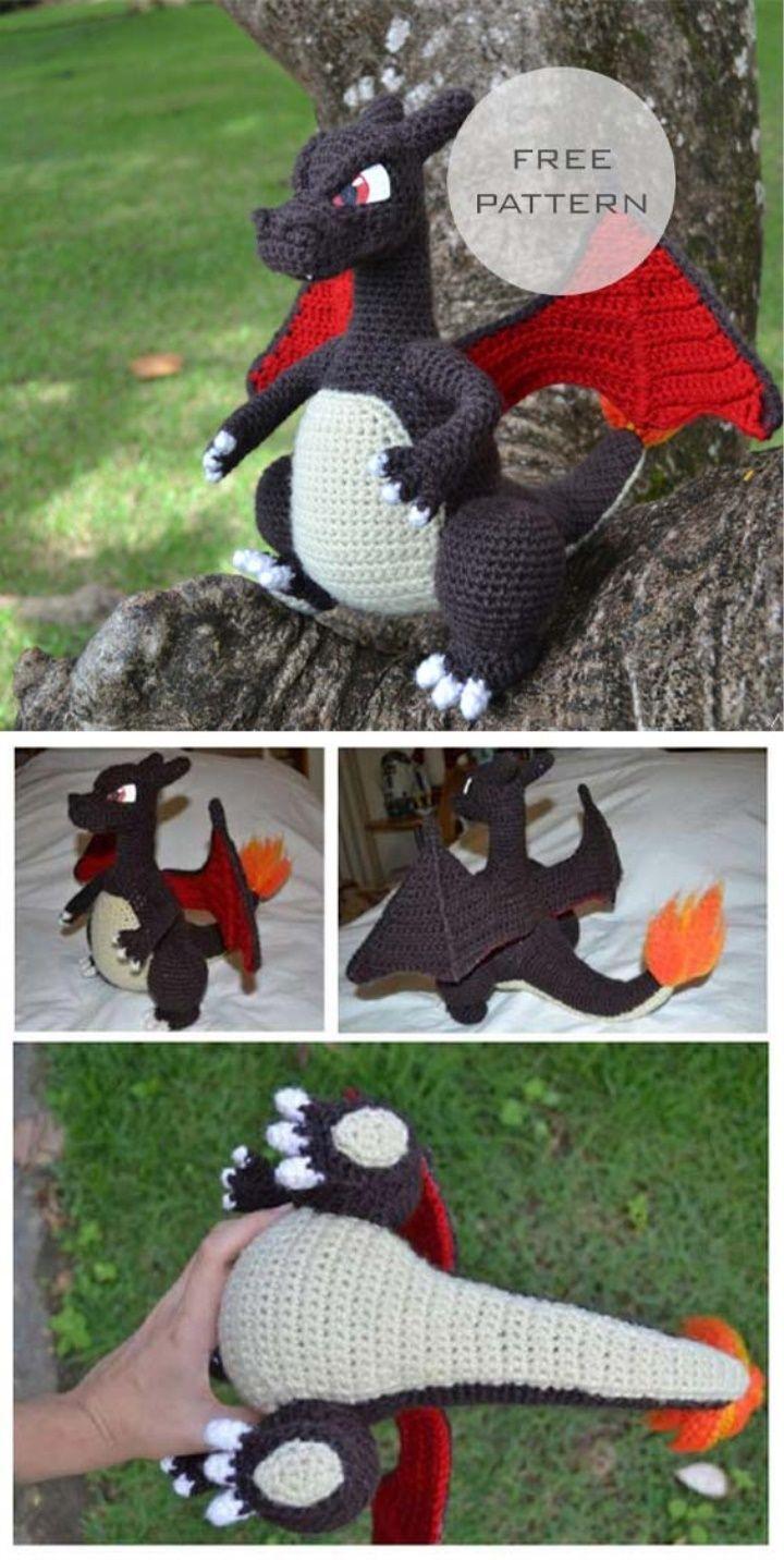 Amigurumi Charizard Free Pattern #crochetdinosaurpatterns