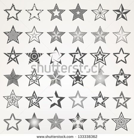 stock-vector-pentagonal-five-point-star-collection-of-thirty-six-emblem-icon-design-elements-eps-vector-133338362.jpg (450×470)