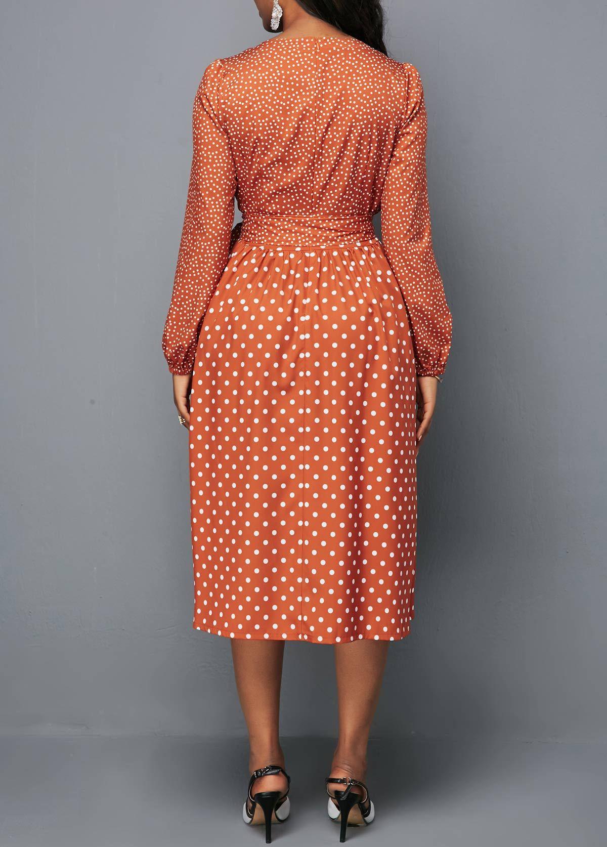 Round Neck Belted Long Sleeve Polka Dot Dress Rotita Com Usd 28 63 Dresses African Fashion Dresses Shop Casual Dresses [ 1674 x 1200 Pixel ]