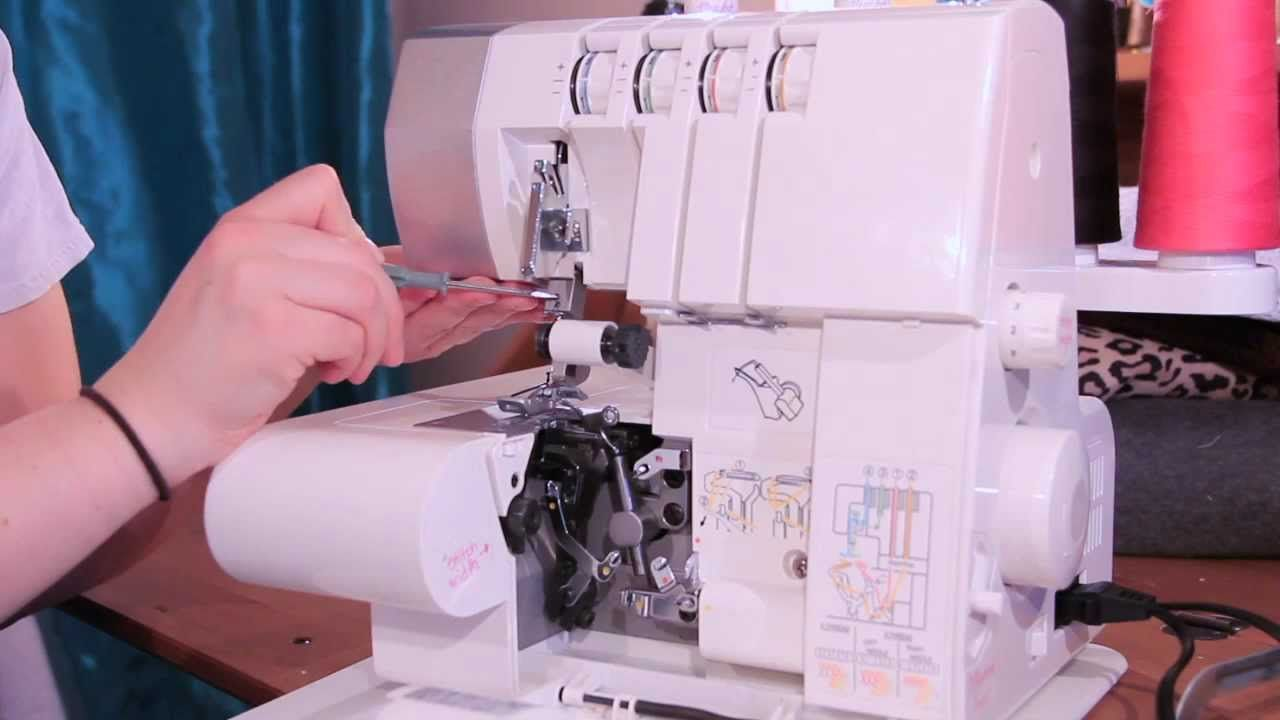 how to thread the singer profinish serger overlock machine best video tutorial by sewing parts. Black Bedroom Furniture Sets. Home Design Ideas