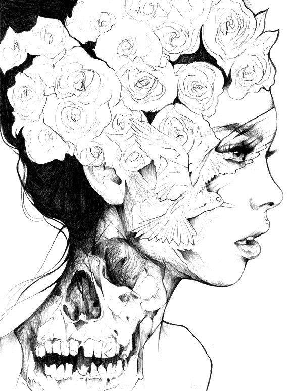 art noir et blanc crativement couronne fleurs fille tatouage