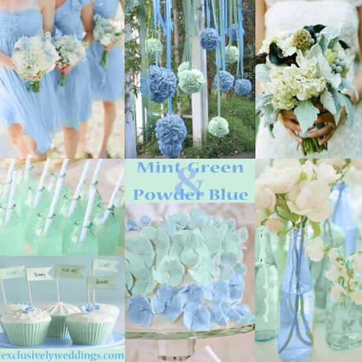 Ceremony Vs Reception Dress: Mint Green And Powder Blue Wedding Motif. In 2019