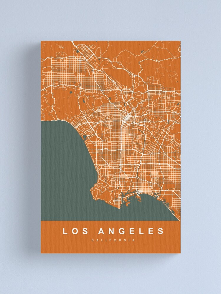 Los Angeles California United States Orange Color City Map Canvas Print By Urban Maps Redbubble In 2020 Map Canvas Print Map Canvas Canvas Prints