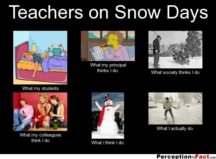Teachers On Snow Days What People Think I Do What I Really Do Perception Vs Fact What Do You Do On Snow Teacher Snow Day Teacher Jokes Teaching Humor