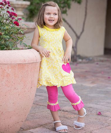 Look at this #zulilyfind! Yellow A-Line Dress & Pink Ruffle Pants - Infant & Kids #zulilyfinds