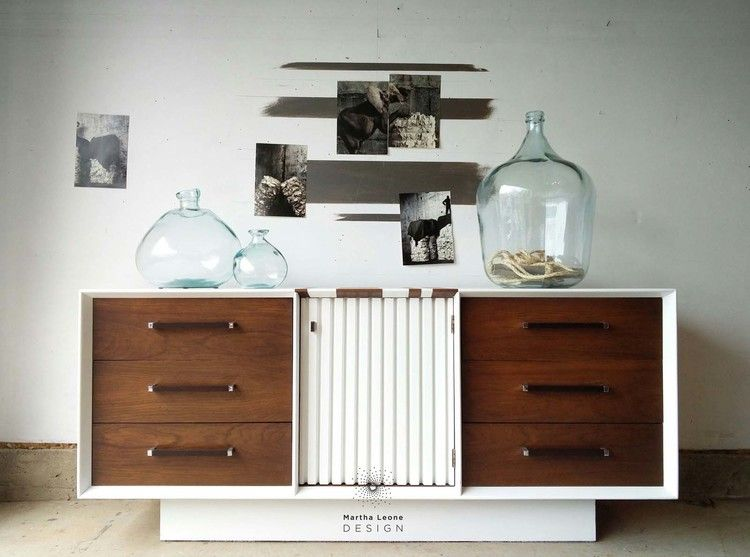 Lane Mid Century Dresser In Benjamin Moore Super White And General Finishes Antique Walnut Gel Stain