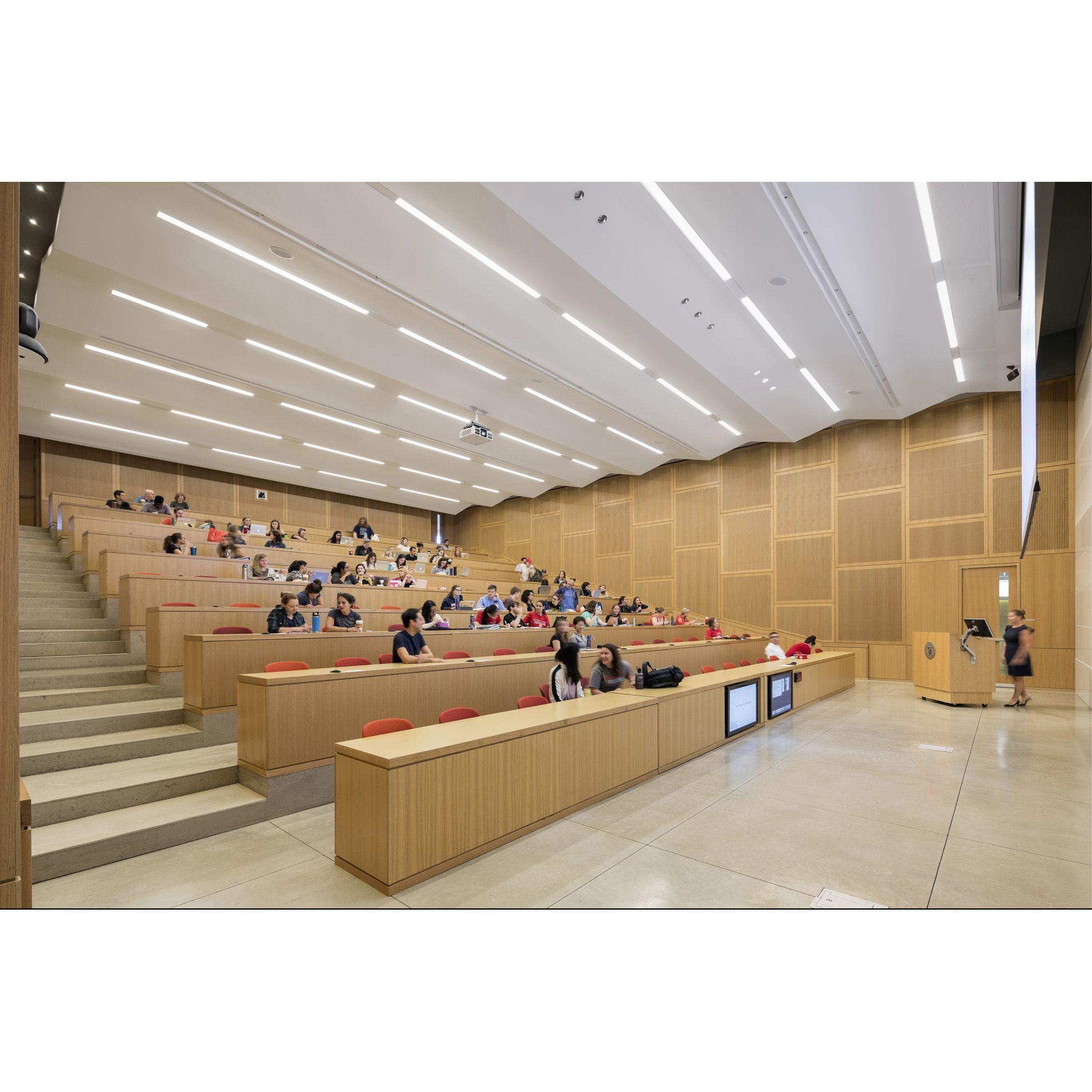 A Lecture Hall Inside The Cornell University College Of Veterinary Medicine Photographed By Albert Lecture Hall Design University Hall University Architecture